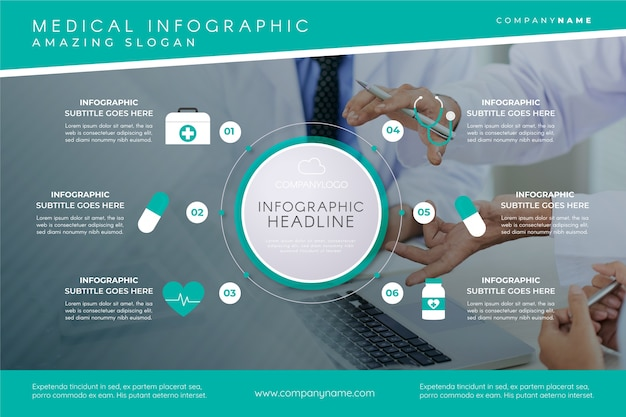 Modello di infografica medica con immagine Vettore gratuito