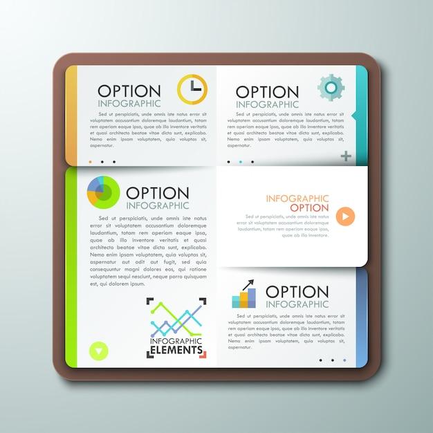 Modello di infografica moderna con il libro Vettore Premium