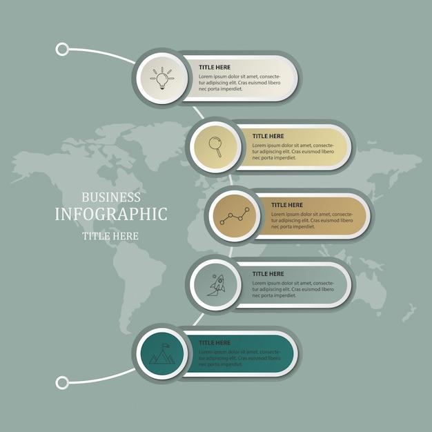 Modello di infografica moderna e sfondo di mappa del mondo. Vettore Premium