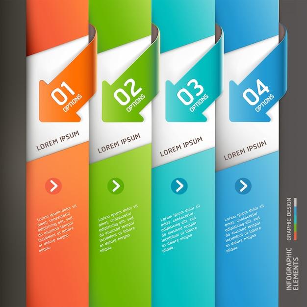 Modello di infografica moderna freccia. Vettore Premium