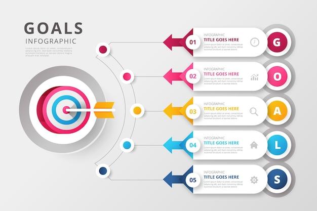 Modello di infografica obiettivi Vettore gratuito