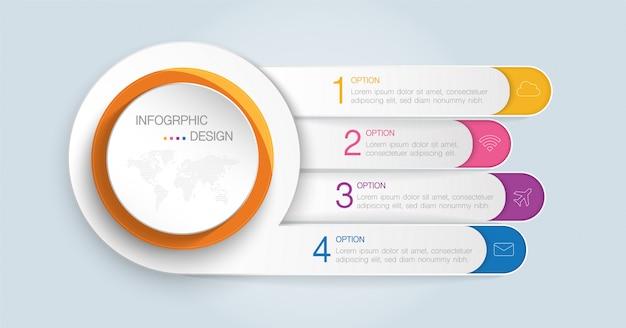 Modello di infografica per business, istruzione, web design, banner, brochure, volantini, diagramma, flusso di lavoro, sequenza temporale, piano con passaggi o opzioni Vettore Premium