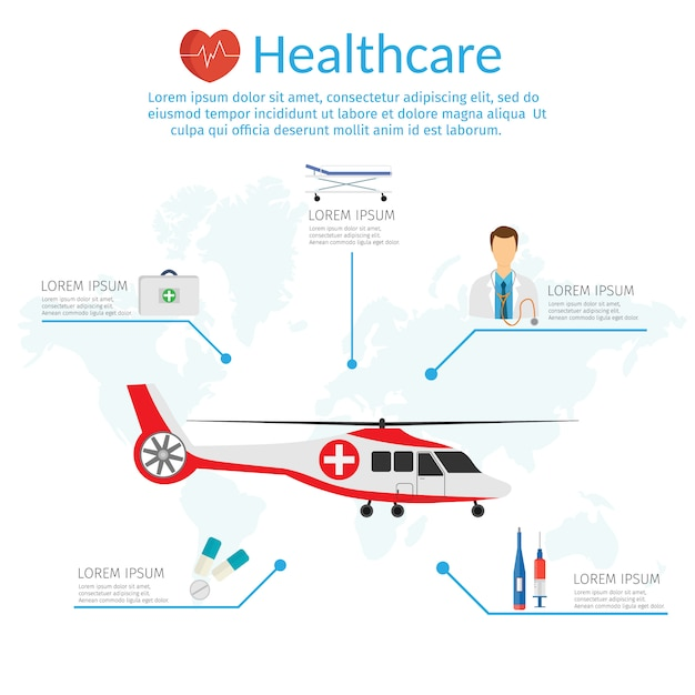 Modello di infografica per illustrazione vettoriale di concetto di medicina in stile moderno design piatto, elicottero medico. Vettore Premium