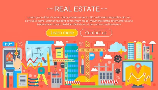 Modello di infografica piatta immobiliare Vettore Premium