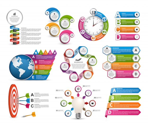 Modello di infografica raccolta. elementi di design Vettore Premium