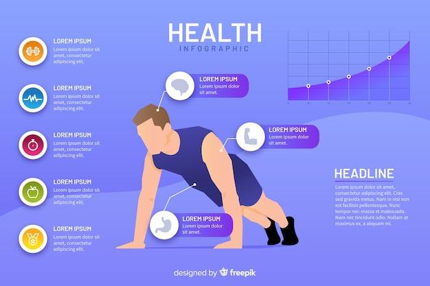 Modello di infografica salute design piatto Vettore gratuito