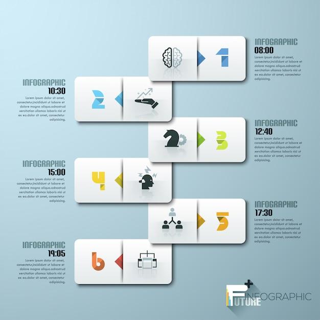 Modello di infografica stile minimal design moderno con numeri Vettore Premium