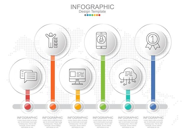 Modello di infografica timeliane con cornice e layout di testo. Vettore Premium