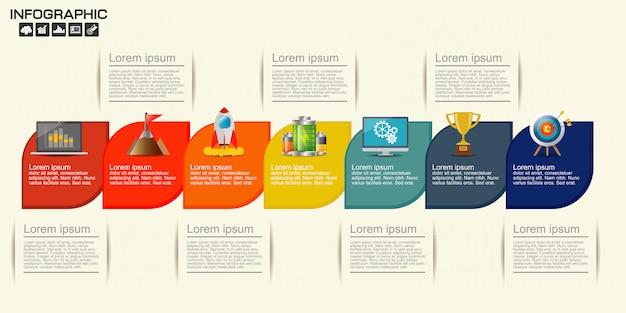Modello di infografica timeline con 7 opzioni Vettore Premium