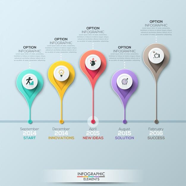 Modello di infografica timeline di affari. illustrazione vettoriale Vettore Premium