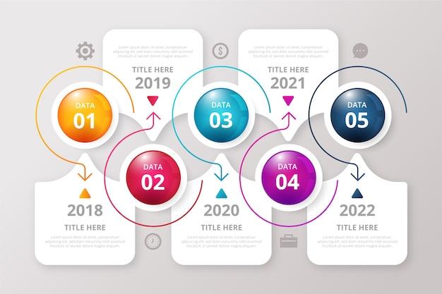 Modello di infografica timeline lucido realistico Vettore gratuito