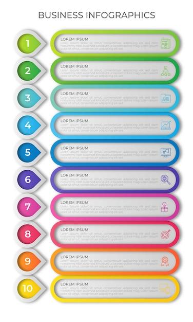 Modello di infografica timeline verticale con 10 opzioni Vettore Premium