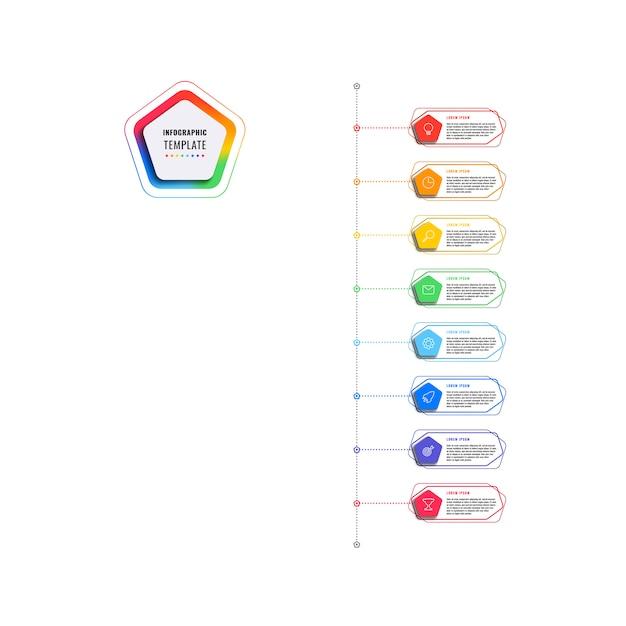 Modello di infografica verticale 8 passi timeline con pentagoni ed elementi poligonali su uno sfondo bianco. visualizzazione dei processi aziendali moderni con icone di marketing di linea sottile. Vettore Premium