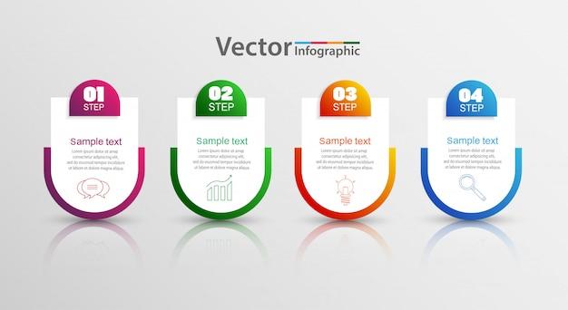 Modello di infografica vettoriale con 4 opzioni Vettore Premium