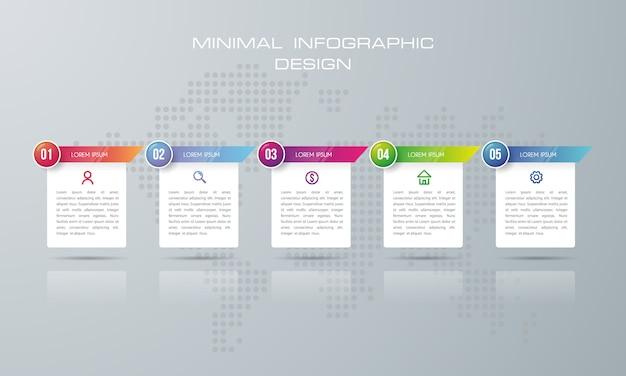 Modello di infographic con 5 opzioni, vettore di progettazione di infographics di cronologia - vettore Vettore Premium
