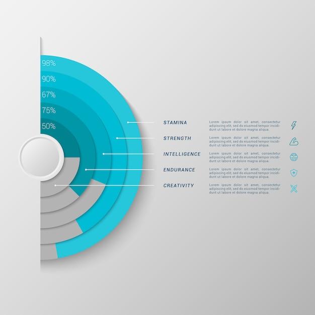 Modello di infographic con l'istogramma del semicerchio 3d Vettore Premium