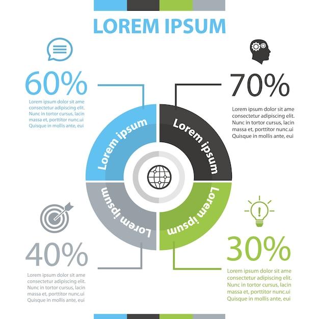 Modello di infographic del cerchio. Vettore Premium