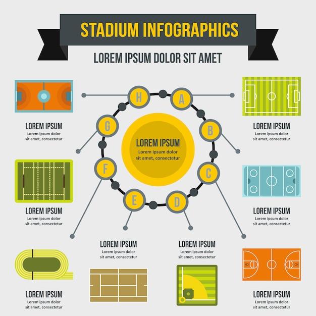 Modello di infographic dello stadio, stile piano Vettore Premium