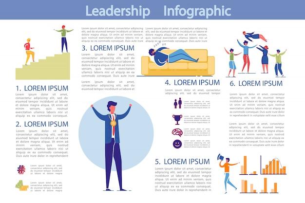 Modello di infographic di leadership e attività commerciali Vettore Premium