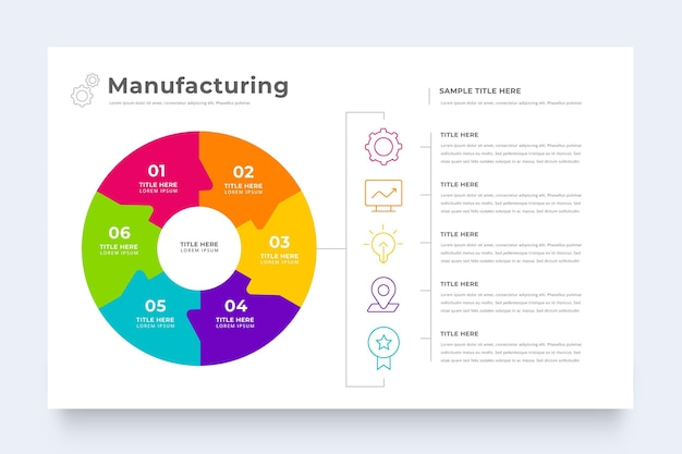 Modello di infographic di produzione aziendale Vettore gratuito