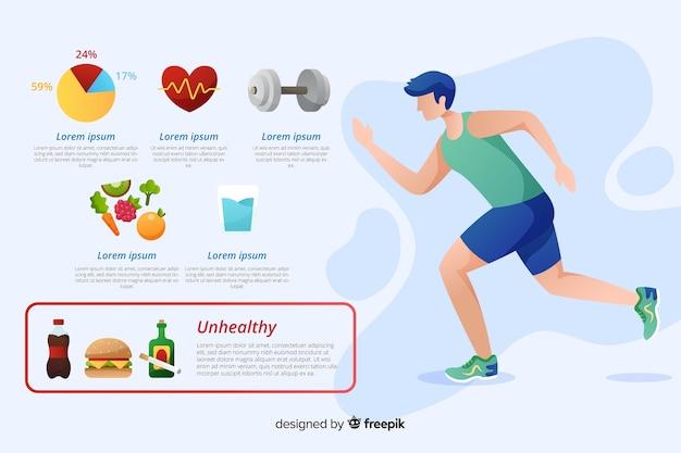 Modello di infographic di salute di design piatto Vettore gratuito