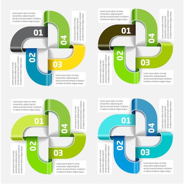 Modello di infographic di vettore dei quattro segmenti e colori Vettore Premium