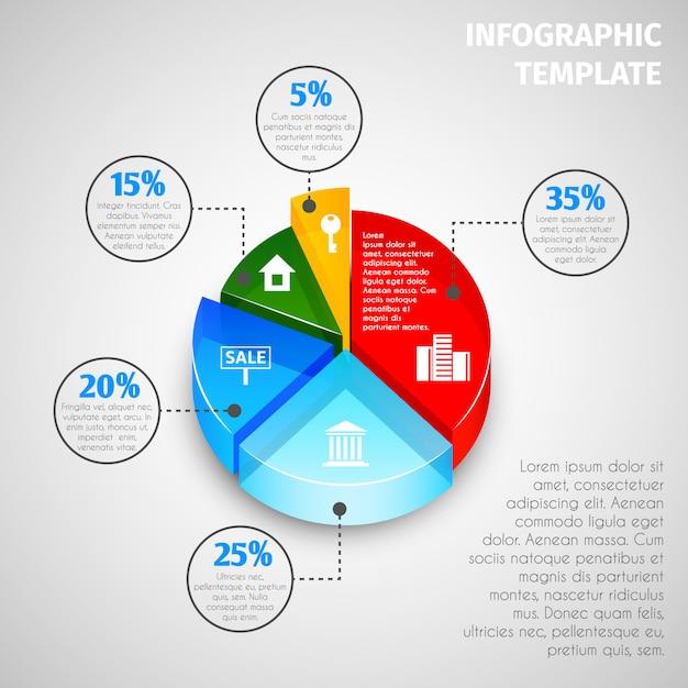 Modello di infographic immobiliare grafico a torta Vettore Premium