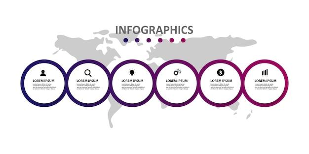 Modello di infographic moderno con 6 opzioni o passaggi Vettore Premium