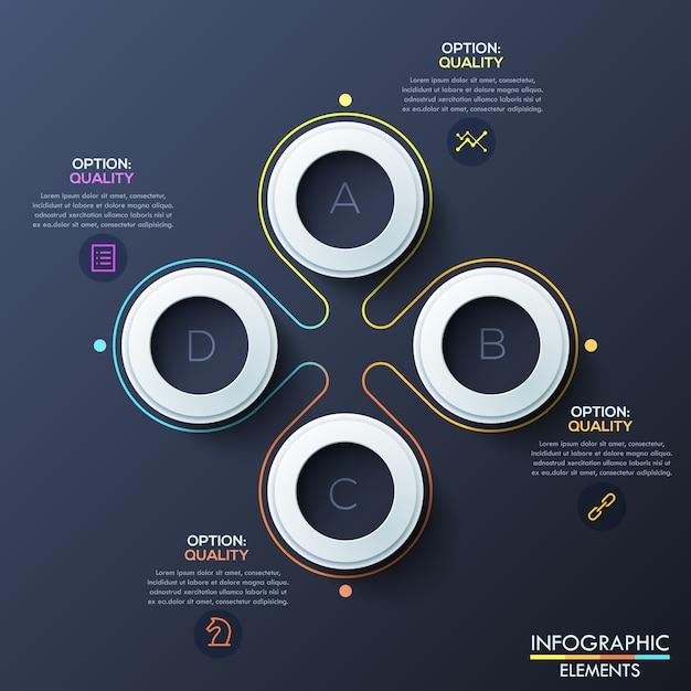 Modello di infographic moderno con anelli bianchi e lettere all'interno Vettore Premium