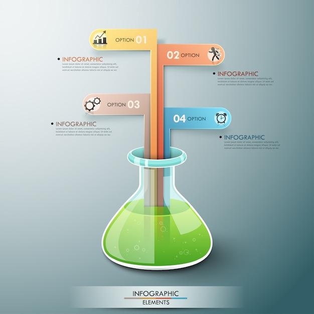 Modello di infographic moderno con boccetta di chimica Vettore Premium