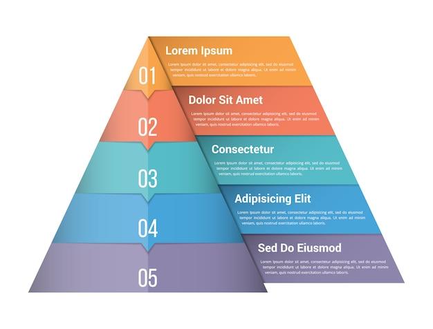Modello di infographic piramide con cinque elementi Vettore Premium