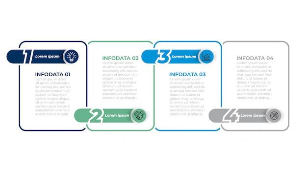 Modello di infographics di affari con icone di marketing. diagramma del flusso di lavoro con passaggi, opzioni. Vettore Premium