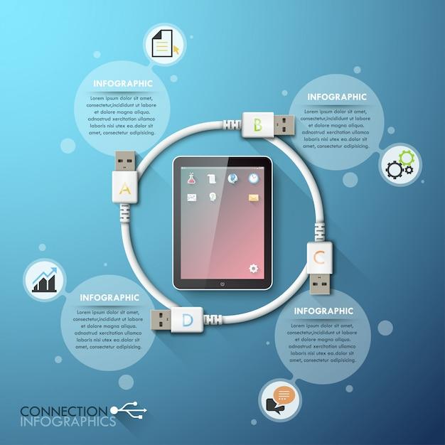 Modello di infographics di connessione usb aziendale Vettore Premium