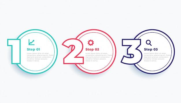 Modello di infographics moderno linea circolare tre passaggi Vettore gratuito