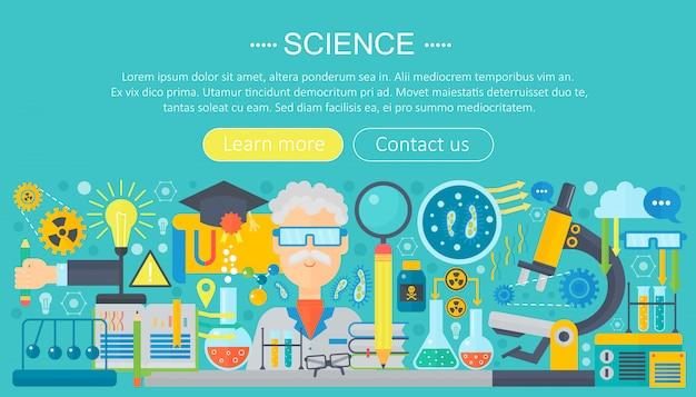 Modello di infographics piatto di ricerca di scienza Vettore Premium