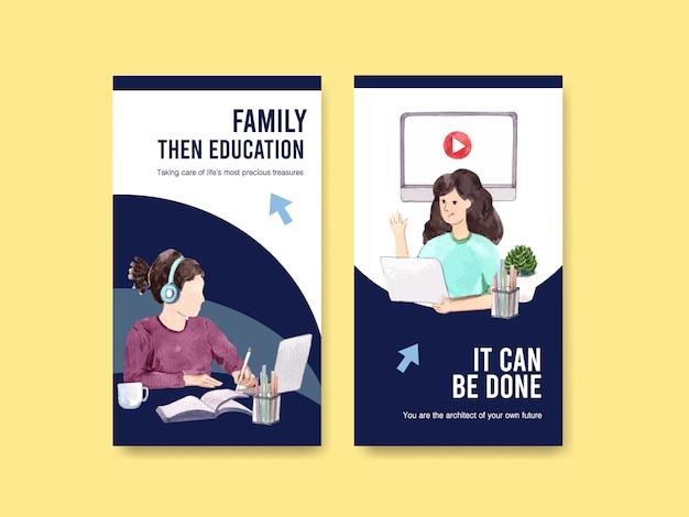 Modello di instagram con design di istruzione online Vettore gratuito