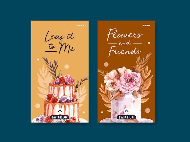 Modello di instagram con progettazione di massima del fiore di autunno per i media sociali e l'illustrazione digitale dell'acquerello di vendita. Vettore gratuito