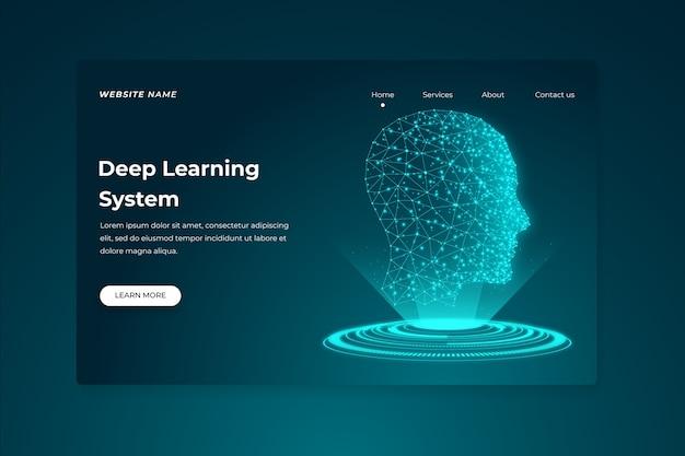 Modello di intelligenza artificiale della pagina di destinazione Vettore gratuito