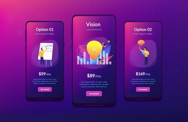 Modello di interfaccia app di dichiarazione di visione Vettore Premium