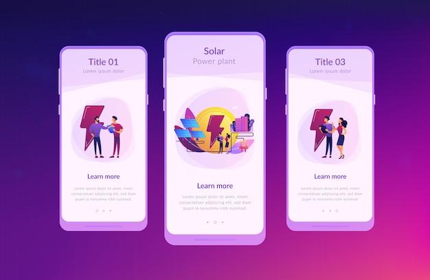 Modello di interfaccia app di energia solare. Vettore Premium