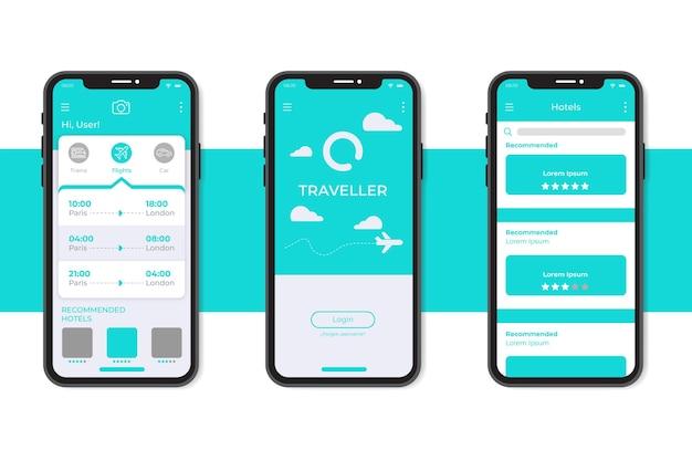Modello di interfaccia app prenotazione viaggi minimalista Vettore gratuito