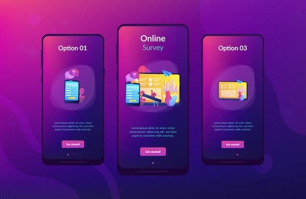 Modello di interfaccia app sondaggio online Vettore Premium