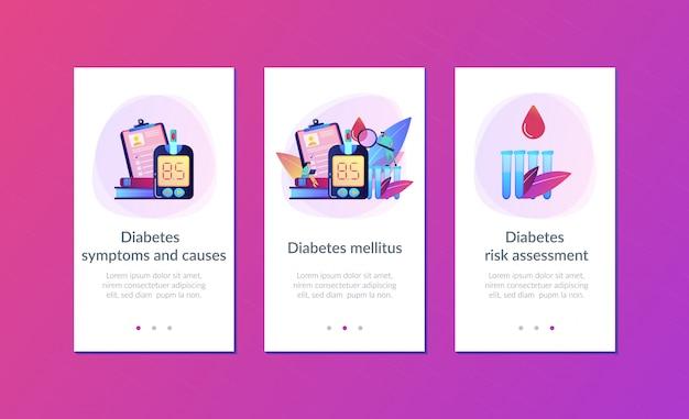 Modello di interfaccia dell'app per il diabete mellito. Vettore Premium