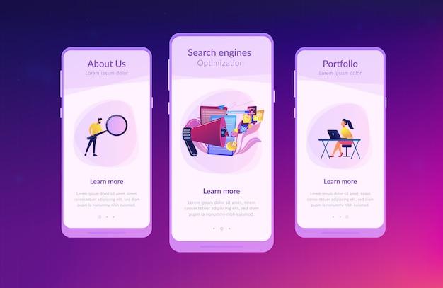Modello di interfaccia dell'app per l'ottimizzazione dei motori di ricerca Vettore Premium