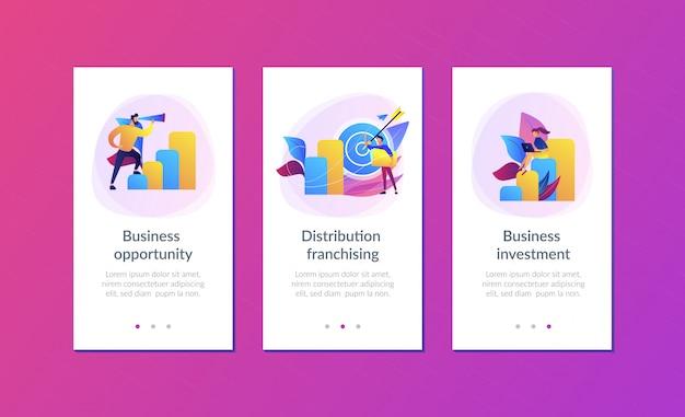 Modello di interfaccia di app opportunità commerciali Vettore Premium