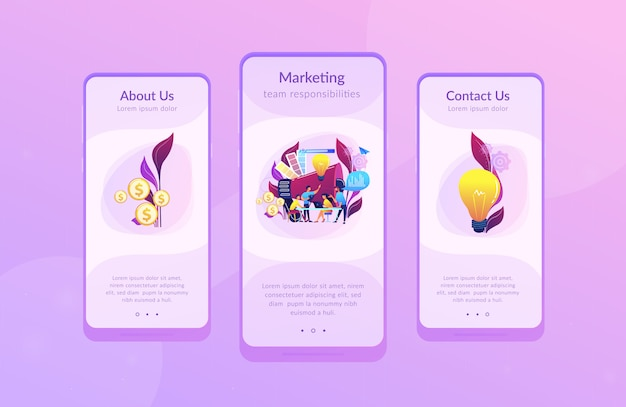 Modello di interfaccia per app del team di marketing digitale Vettore Premium