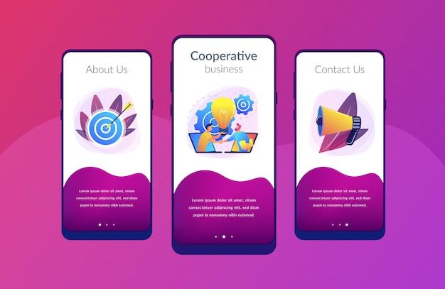 Modello di interfaccia per app di collaborazione Vettore Premium