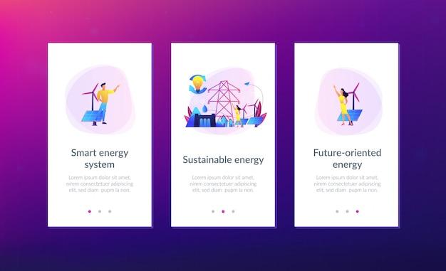 Modello di interfaccia per app di energia sostenibile. Vettore Premium