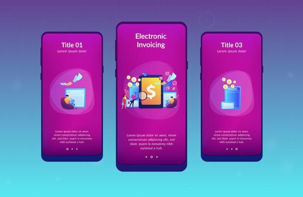 Modello di interfaccia per app di fatturazione elettronica Vettore Premium