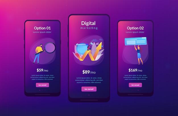Modello di interfaccia per app di marketing digitale Vettore Premium